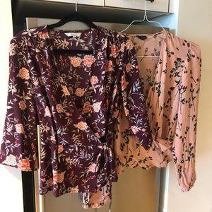 Topshop Floral wrap blouses sz 8